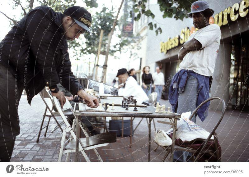 streetchess Mensch Stadt Straße Spielen Menschengruppe Schach Brettspiel San Francisco