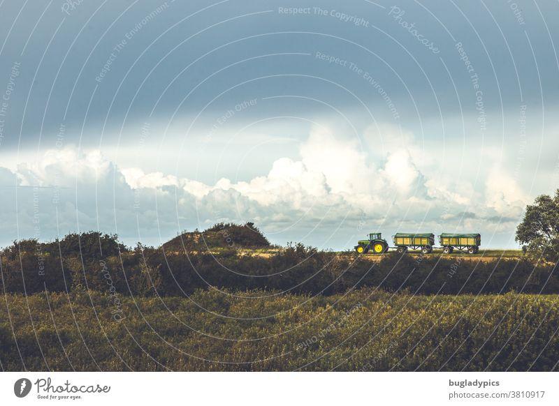 Ein Grün-gelber Traktor mit zwei Anhängern steht am Horizont auf einem Feld. Im Vordergrund sieht man Büsche im Hintergrund am Himmeln große Wolken Landschaft