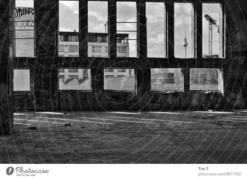 Blick aus der Eisfabrik Berlin auf den Fernsehturm Berlin-Mitte Hauptstadt Stadtzentrum Architektur Skyline Deutschland Großstadt Ruine ruiniert Haus