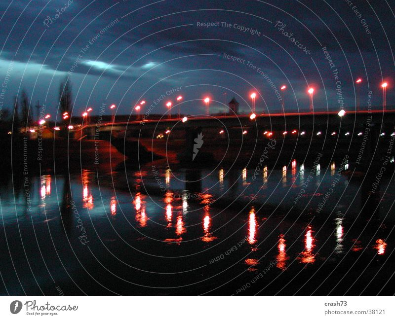 fluss & lichter Licht Nacht Kroatien Europa Fluss Brücke Wasser osijek drau