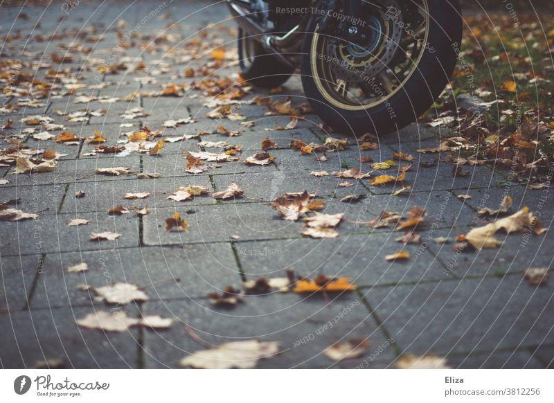 Ein Motorrad steht, umgeben von Herbstlaub, auf dem Gehweg Räder Herbtlaub Laub herbstlich Bürgersteig Motorradfahren Blätter