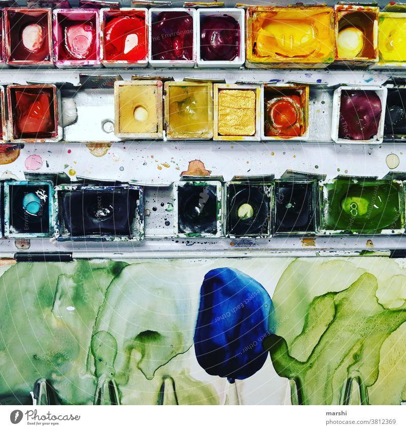 Malkasten malen farben bunt malkasten wasserfarben watercolor brushlettering kreativ kreativität aquarell aquarellfarben hobby leidenschaft knallig ausdruck
