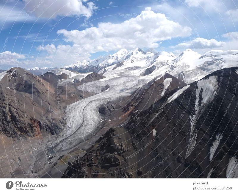 Gletscherzunge Natur Berge u. Gebirge wandern Gipfel Schneebedeckte Gipfel Bergsteigen Klimawandel Kirgisistan Moräne Tien Shan