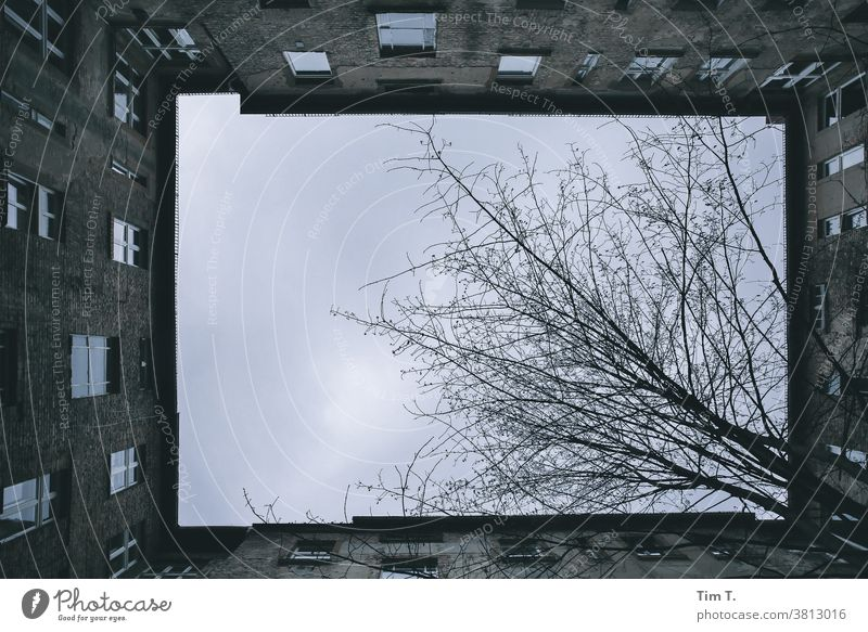 Ich sehe nach oben ....der Himmel über einen Hinterhof in Berlin Haus Fenster Fassade Stadt Menschenleer Stadtzentrum Altbau Altstadt Hauptstadt Tag Bauwerk