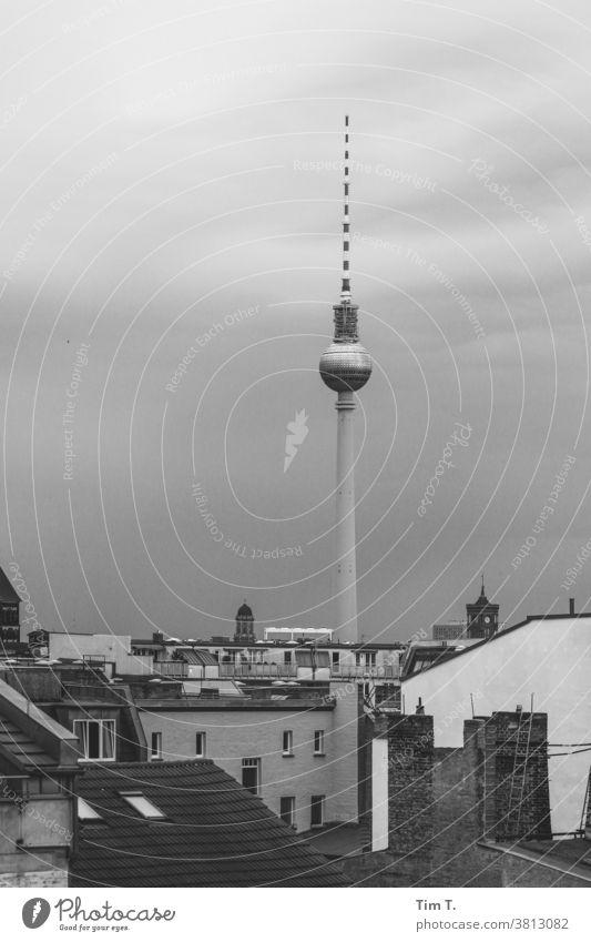 Blick über ein Dach auf den Berliner Fernsehturm Himmel Prenzlauer Berg Wahrzeichen Architektur Turm Sehenswürdigkeit Stadt Außenaufnahme Menschenleer