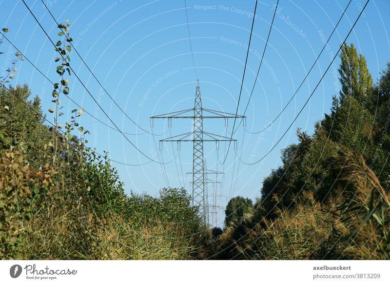 Strommasten mit Hochspannungsleitung oder Freileitung Überlandleitung Stromleitung Energie Elektrizität Kabel Übertragung Mast Pylon Natur Industrie