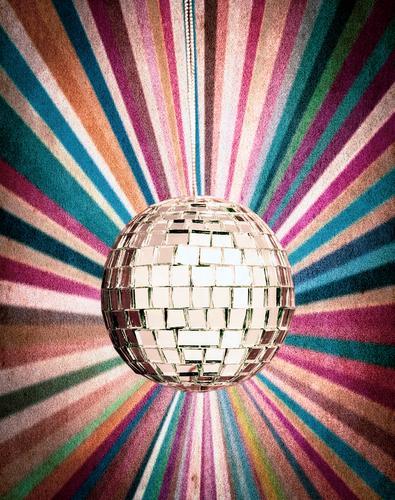Spiegelkugel-Retro-Hintergrund 1970s Ball Feier kitschig farbenfroh Tanzen Dekoration & Verzierung Disco Diskokugel discoball Diskothek Einfluss elektronisch
