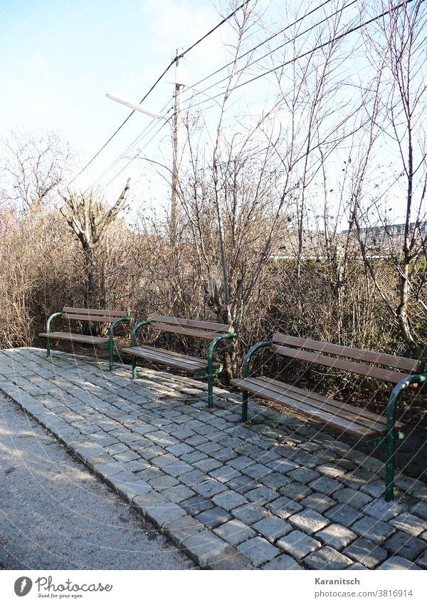 Drei Parkbänke vor kahlen Sträuchern. Bank Bänke Parkbank sitzen rasten Rastplatz Ruhe Stille leer braun Zaun Winter Frühling sonnig Sonnenschein Licht Schatten