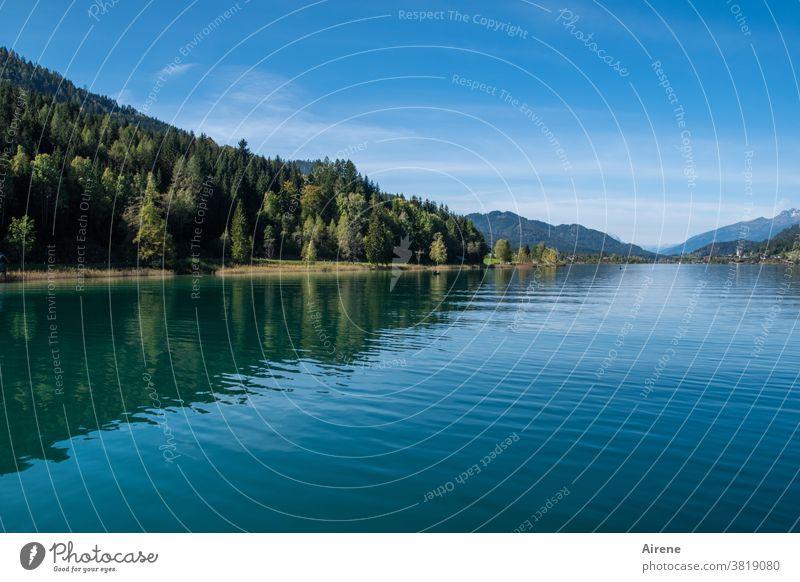 zur Ruhe finden See Alpen Wasser ruhig Zufriedenheit beschaulich Idylle Horizont Österreich Erholung Frieden Bergwald Gebirgssee Wasserspiegel Wasserspiegelung