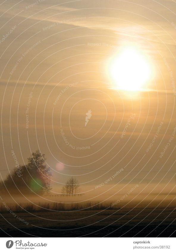 An einem Frühlingsmorgen Sonnenaufgang Nebel Wiese Steg Tau Morgennebel ruhig Gebet Au Morgendämmerung