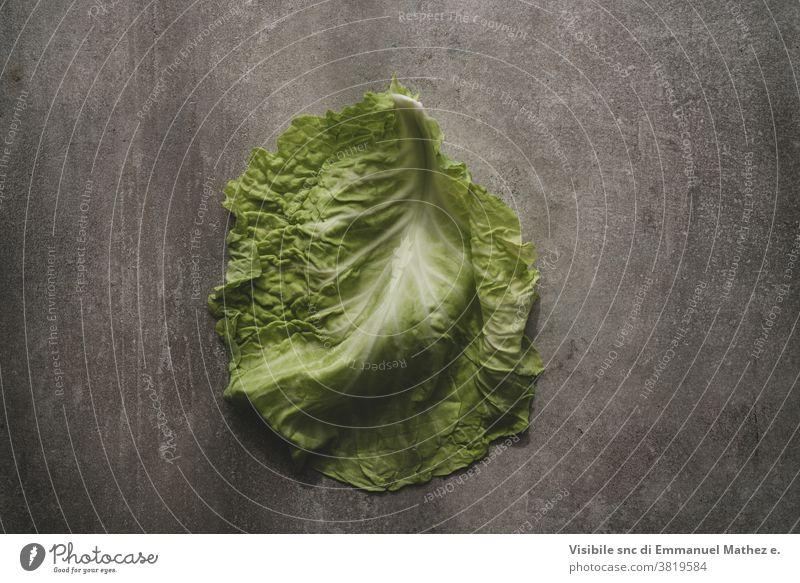 Kohlblatt auf grauem Beton-Hintergrund Blatt Diät roh Gemüse organisch frisch Natur Vegetarier Kohlgewächse weiß Ackerbau Bestandteil grün Lebensmittel