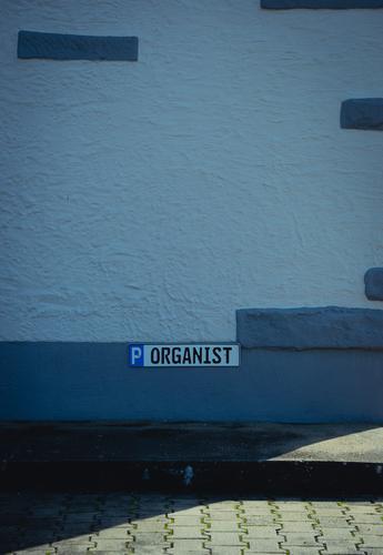 """Parkplatz reserviert für den """" ORGANIST """" Schilder & Markierungen Straße Asphalt parken Hinweisschild Menschenleer Schriftzeichen Außenaufnahme Zeichen Farbfoto"""