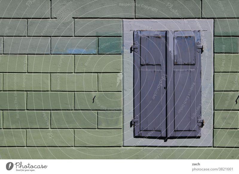lockdown Fassade Backstein Wand Mauer Haus Stein Bauwerk Architektur Linie Strukturen & Formen Backsteinwand alt Backsteinfassade Fenster grün Fensterladen