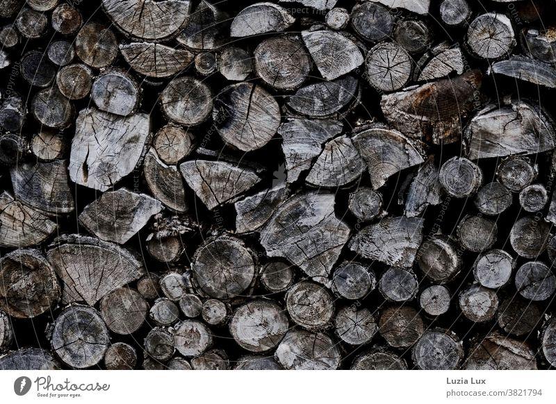 altes Holz, gestapelt Brennholz Brennholzstapel Holzstapel Außenaufnahme Stapel braun Form Formen Risse Rinde dicht