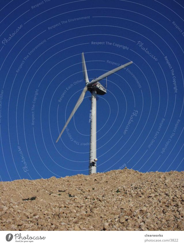 Windrad Natur Himmel blau Technik & Technologie Elektrisches Gerät