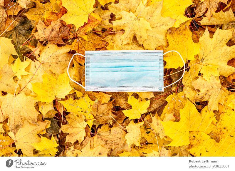 eine Atemschutzmaske liegt auf Herbstlaub herbst corona covid-19 atemschutzmaske einwegmasken mund-nase-abdeckung benutzt goldener oktober grippewelle blätter