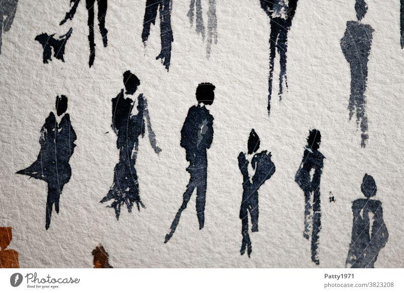 Abstrakte menschliche Silhouetten in Aquarell gemalt / wen die Muse küsst... Menschen Figur Wasserfarbe Kunst Kreativität Nahaufnahme Freizeit & Hobby malen