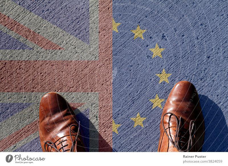 Knotenpunkt Brexit - Blick auf den Union Jack und die Flagge der Europäischen Union brexit britannien Briten Entscheidung Beschluss u. Urteil England EU Europa