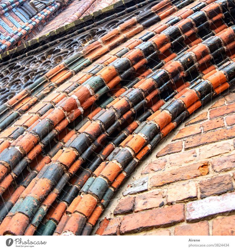 Kunst am Bau | fein hingebogen Kirche Bogen Torbogen Architektur Ornament historisch braun Religion & Glaube Kontrast Portal Kirchenportal Ziegel Backstein