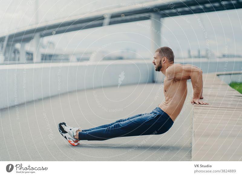 Seitenschuss eines muskulösen Mannes macht umgekehrte Push-up-Übung, trainiert die Arme, hält perfekten Körper und gute körperliche Form, trainiert aktiv im Freien, trägt Sporthosen und Turnschuhe, posiert auf der Brücke