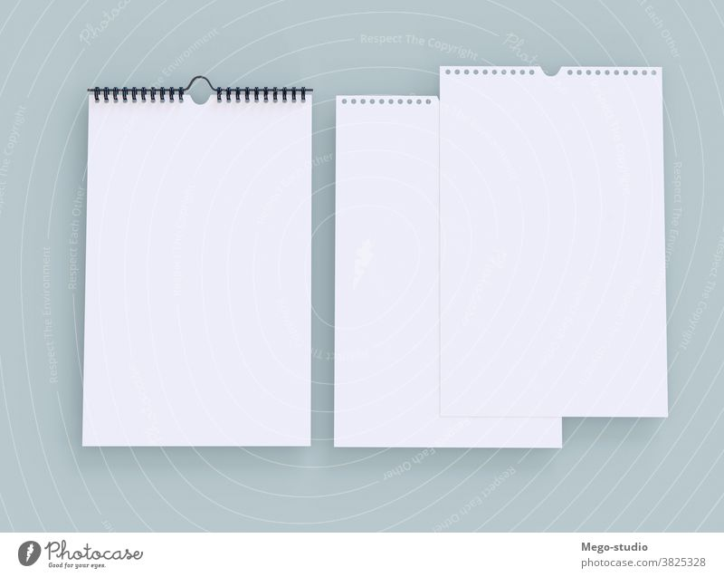 3D-Illustration. Leerer vertikaler Kalender. 3d Grafik u. Illustration Jahr Veranstalter organisierend graphisch Single Rendering Ordner Wand erinnern Konzept