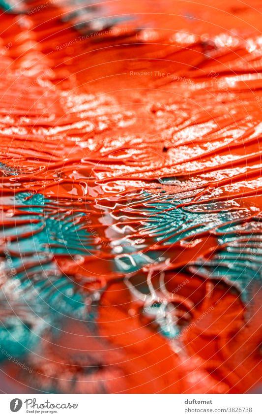 Nahaufnahme von Acrylfarbe in Orange und Türkies Kunst Farben Muster malen Kreis Hintergrundbild Handarbeit Freizeit & Hobby Innenaufnahme Gemälde Papier