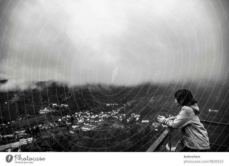 nebulöse aussichten beeindruckend ausblick Aussicht dunkel dramatisch Schwarzweißfoto Cochem Stadt Wald Ferien & Urlaub & Reisen wandern Natur Außenaufnahme