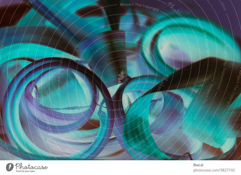 curly lockig Loop türkis violett Rhabarber Strukturen & Formen abstrakt
