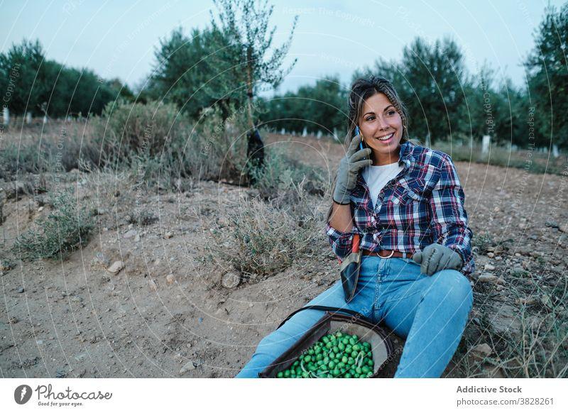Frau benutzt Smartphone auf dem Bauernhof Landwirt sich[Akk] entspannen sprechend Arbeiter Nachricht Telefon Mobile online Browsen Boden Anschluss sitzen