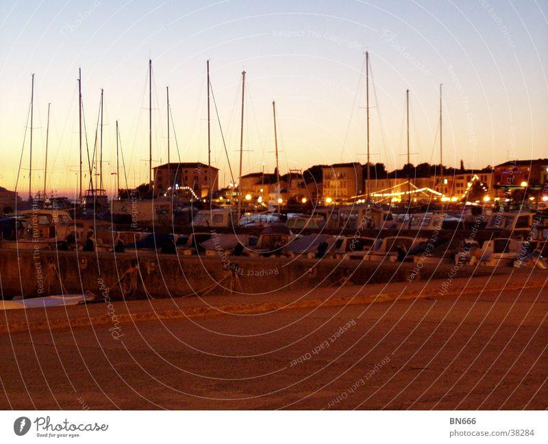 Hafenlandschaft Meer Ferien & Urlaub & Reisen Wasserfahrzeug Sommerabend