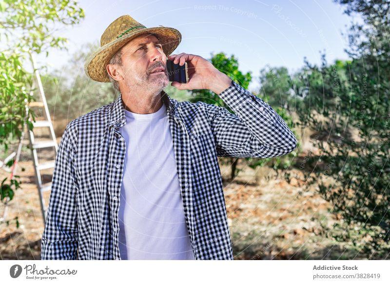 Nachdenklich reifen Bauern sprechen auf Smartphone in Bauernhof Mann beschäftigt Landwirt Ackerbau Anruf benutzend Gespräch Garten Ernte männlich Ackerland
