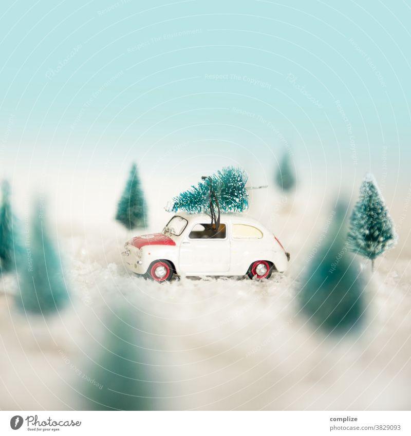 Mit dem Weihnachtsbaum nach Hause fahren Oldtimer Wald Schneefall Silvester u. Neujahr kaufen Lifestyle Natur schön Baum Kreativität Verkehr Landschaft
