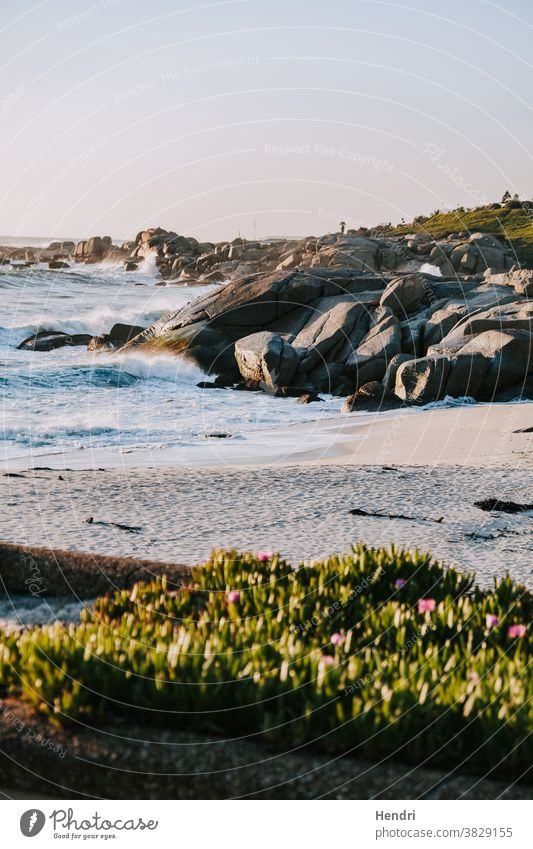 Wellen prallen bei Sonnenuntergang gegen Felsen und Strand in Kapstadt Südafrika winken zusammenbrechend Felsbrocken Urlaub reisend Badeurlaub Meer MEER Natur