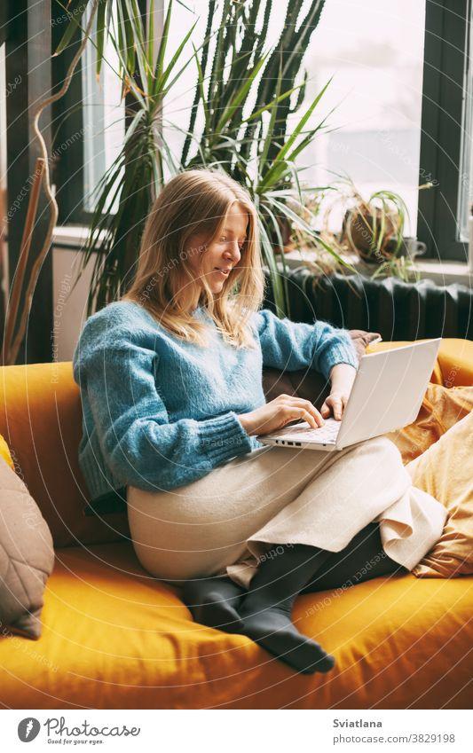 Süße Blondine, die auf der Couch sitzt und am Computer arbeitet. Das Mädchen checkt E-Mails, kommuniziert mit Freunden und Kollegen. Online arbeiten, freiberuflich tätig, soziale Distanz