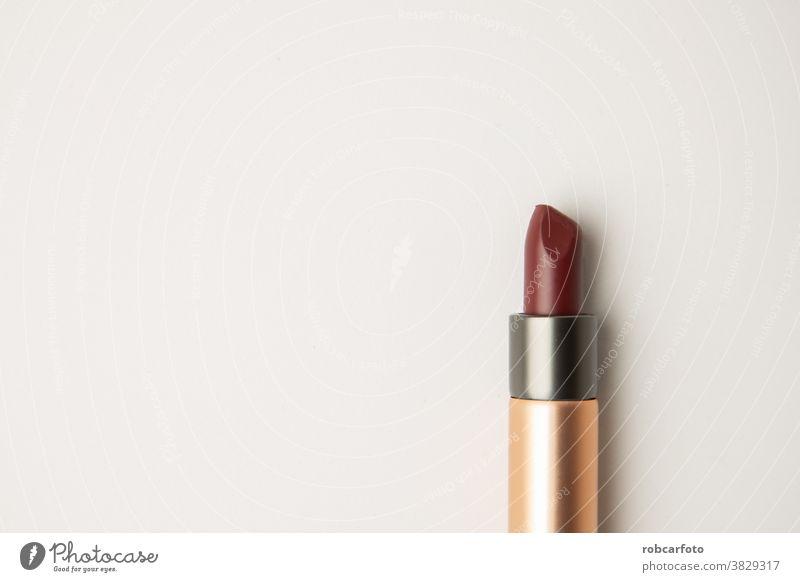 dunkelroter Lippenstift auf weißem Hintergrund Mode Pflege Farbe schwarz vereinzelt Schönheit Make-up Objekt offen Accessoire Silber Reichtum Tube Stehen Single