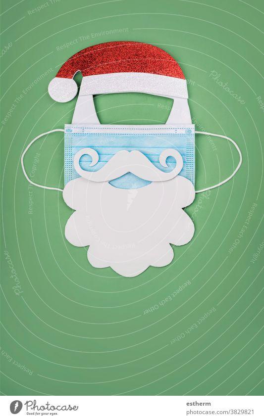 Frohe Weihnachten.weihnachten.hintergrund.weihnachtsmann mit chirurgischer Schutzmaske Weihnachtsmann Coronavirus Weihnachtshintergrund Chirurgische Schutzmaske