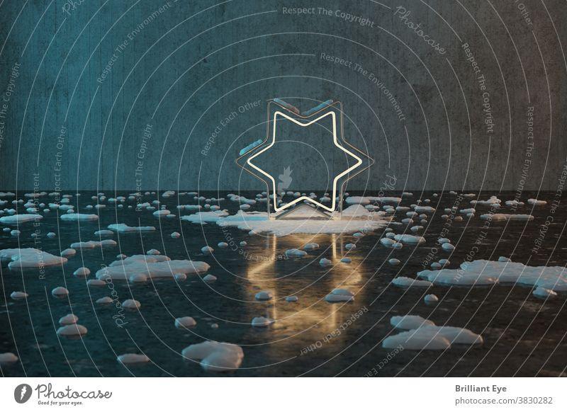 goldene Sternform mit schneebedecktem Licht vor Grunge-Wandhintergrund mit Reflexionsboden Textur Beton 3d abstrakt Hintergrund blau hell Feier Weihnachten