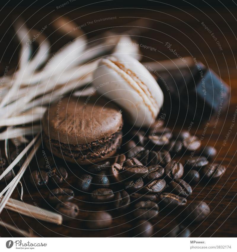 kekse und kaffee Kekse Kaffee Kaffeebohnen braun Café Espresso Bohnen Koffein Nahaufnahme geröstet Makroaufnahme Lebensmittel süßspeise Süßigkeiten aromatisch