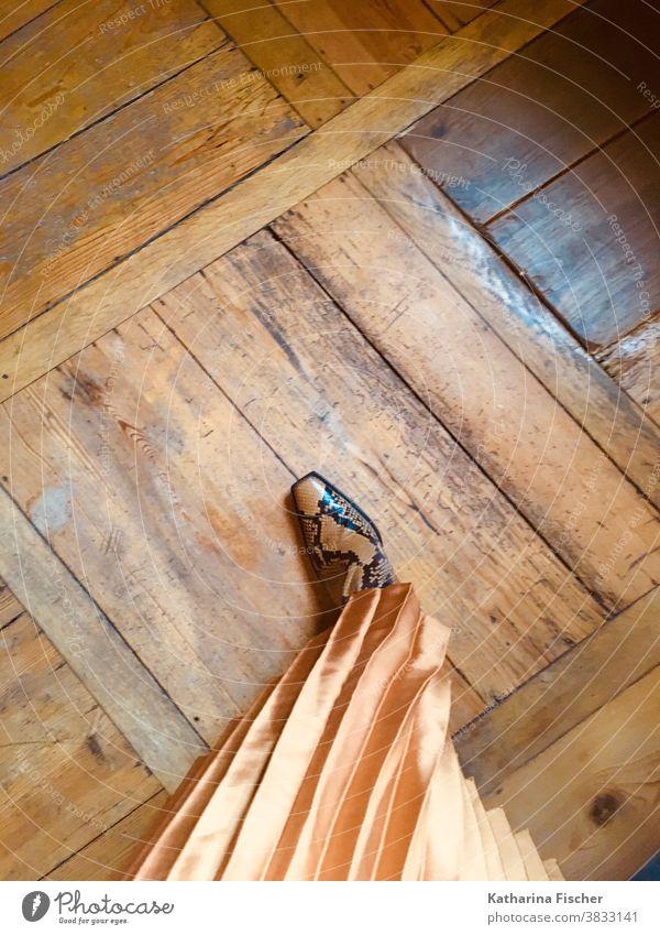 Stiefel, Schlangenmaserung, Style, stylisch, Plisseerock, Holzboden Vogelperspektive Schuhe Außenaufnahme Tag Farbfoto Bodenbelag stehen Straße braun grau Stein