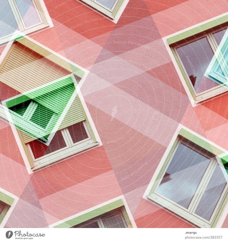 Windows 10 Stil Design Fassade Fenster Häusliches Leben außergewöhnlich trendy grün rot weiß Farbe Perspektive Doppelbelichtung Farbfoto mehrfarbig