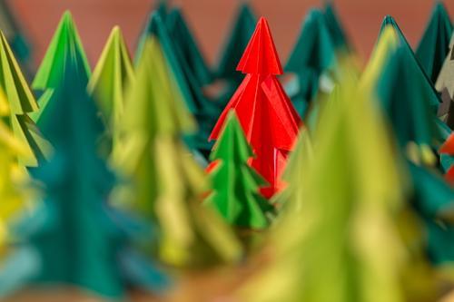 selbst gebastelte farbige Tannen aus Papier stehen im Wald Waldorfschule Basar rot grün Weihnachtsbäume Weihnachtsbaum Basteln selbstgemacht handmade