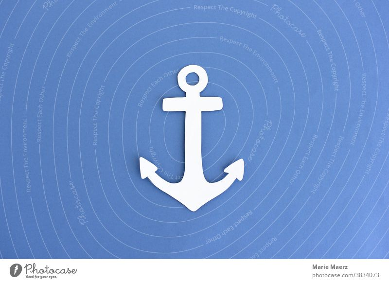 Anker Papier-Illustration blau weiß maritim Seefahrt Meer Reise Urlaub Hafen Sicherheit ankern Schifffahrt Ferien & Urlaub & Reisen Detailaufnahme Papierschnitt