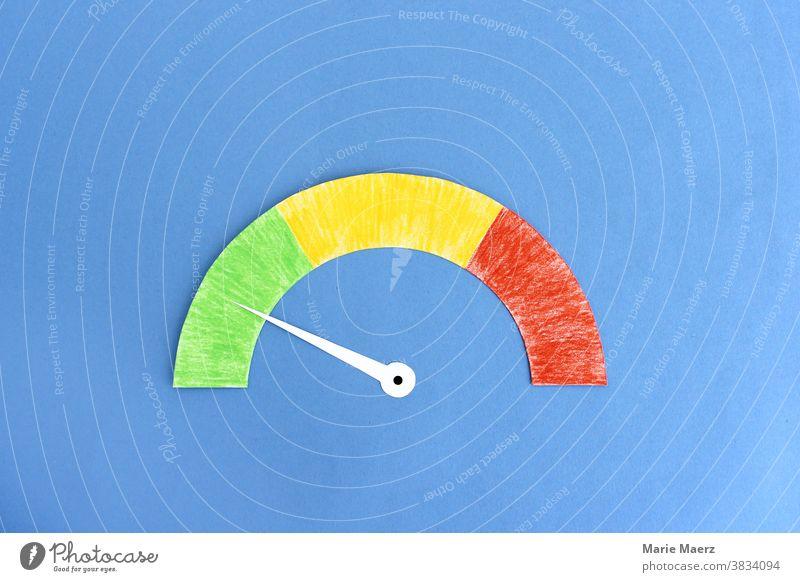 Tachometer mit Zeiger im grünen Bereich Messgerät messen minimalistisch Textfreiraum oben Hintergrund neutral Zeiger. Zifferblat Illustration