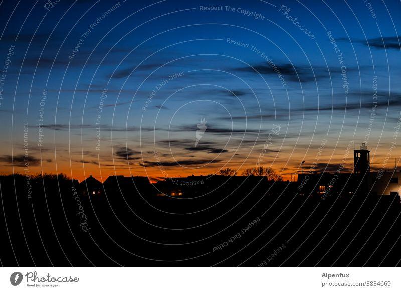 Gute Nacht John-Boy Sonnenuntergangshimmel Sonnenuntergangsstimmung Landschaft Außenaufnahme Abenddämmerung Wolken Himmel Menschenleer Natur Dämmerung blau