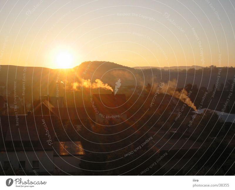 Sonnenaufgang Sonne Herbst Berge u. Gebirge Nebel groß