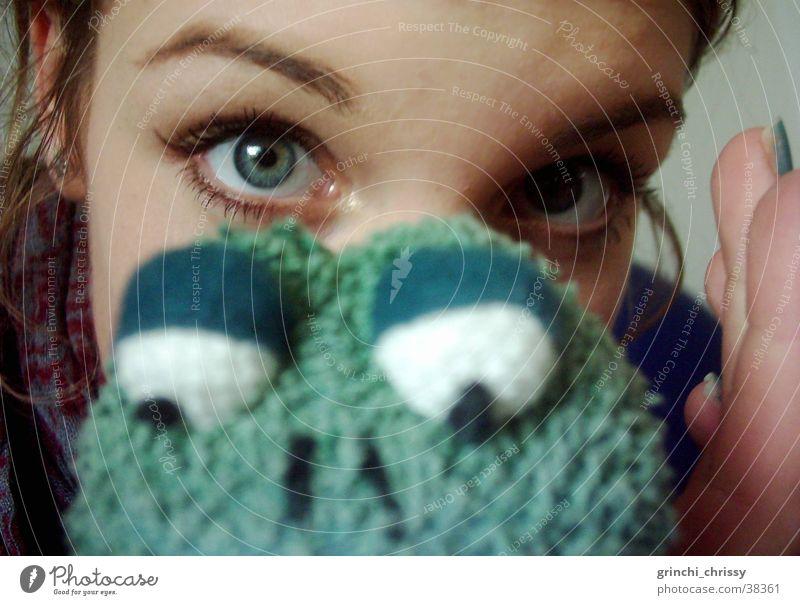 froschaugen Frau grün Auge nah Frosch Augenbraue