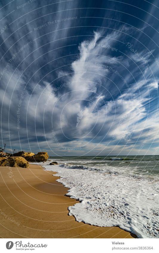 Felsen am Strand von Gale in Portugal III Farbfoto Brandung Vale Parra Algarve Erholung entdecken Schwimmen & Baden Wasser Sand Landschaft Sonnenstrahlen Stein