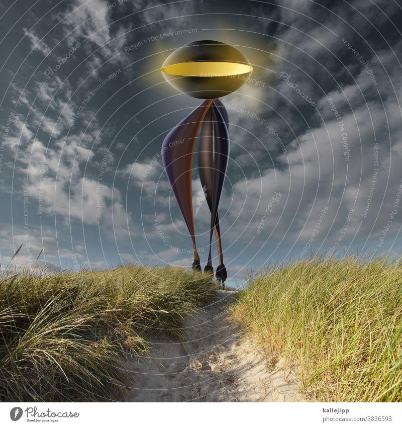 contact UFO Planet Zukunft Science Fiction Verschwörungstheorie Verschwörungstheoretiker Passagiere einsteigen landung Leiter aliens und son quatsch Futurismus
