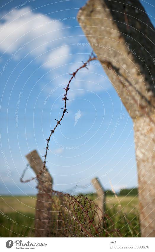 Stacheldraht Himmel blau grün Sommer Landschaft Wolken Tod Traurigkeit grau Metall braun Angst Beton gefährlich kaputt bedrohlich