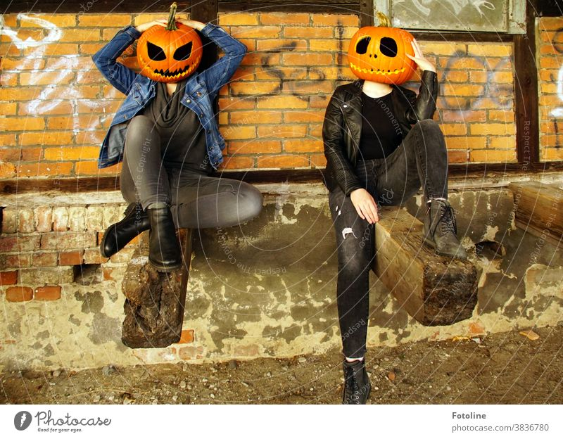 Lass uns abhängen! - oder Zwei Mädchen mit Kürbiskopf treffen sich zum schnattern Halloween Kürbiszeit Kürbisfratze Kürbisgesicht gruselig gruseln Fratze